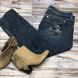 Torrid Bling Picket Skinny Crop Jeans 18W